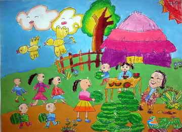 《我帮奶奶卖西瓜》儿童画