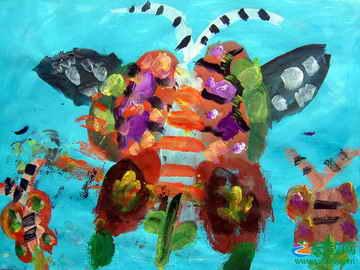 蝴蝶花 儿童画