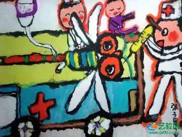 《给小蜻蜓治病》儿童画