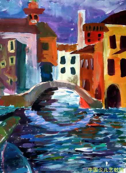 简笔画 儿童画 儿童水粉画 >> 《威尼斯风景》儿童画       这幅画