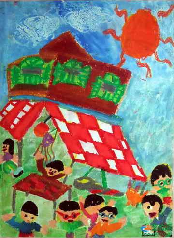 美丽的家乡 一儿童画