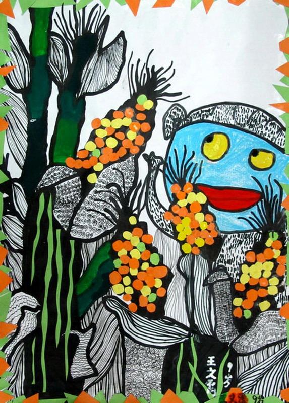 《玉米地里的蓝皮猴》儿童画图片