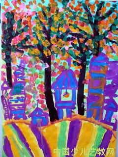 山里的姥姥家 儿童画
