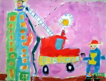 消防兵 儿童画
