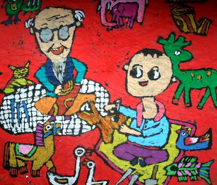 《跟爷爷学橡雕》儿童画