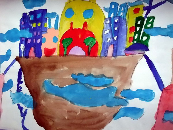 空中之城 儿童画
