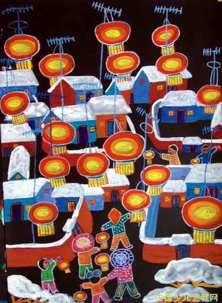 家乡的元宵节 儿童画