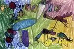 觅食儿童画