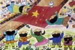 心中的国旗儿童画