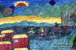 农村的孩子儿童画作品欣赏