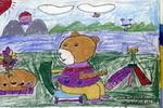 沐浴在暖和的阳光下儿童画图片