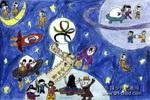 请太空娃娃参加奥运会儿童画作品欣赏