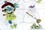 下雪啦儿童水彩画