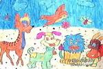 可爱的动物乐园儿童画图片