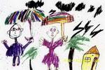 雨中漫步儿童画