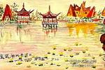 玄武湖风景写生儿童画图片图片