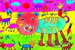狮子和牛儿童画作品欣赏