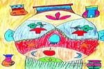 脸�V儿童画作品欣赏