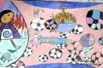 把足球踢向宇宙儿童画图片