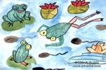 青蛙和蝌蚪儿童水彩画