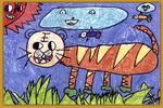 老虎儿童水彩画