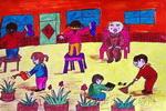 温暖儿童水彩画