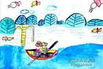 划船儿童水彩画