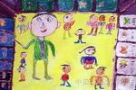 参观蜘蛛屋儿童画作品欣赏