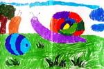 漂亮的蜗牛儿童水彩画