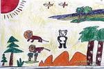 狮子和熊猫儿童画作品欣赏