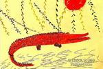 吃饱了的鳄鱼儿童画作品欣赏
