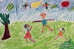 和爸妈玩捉迷藏儿童画作品欣赏