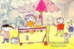 吃冰淇淋儿童水彩画