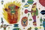 外星人世界儿童水彩画