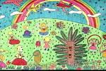 看飞机儿童水彩画