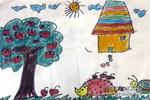 小刺猬搬苹果儿童画图片