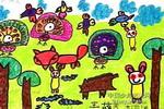 小动物比美儿童画作品欣赏