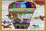飞向天空儿童水彩画