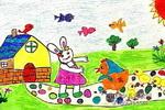 小兔请客儿童水彩画