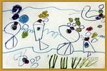 小鱼吹泡泡儿童水彩画