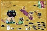 爱捉老鼠的小猫儿童画