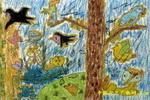 动物被污染儿童画