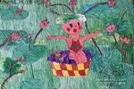娃戏莲叶间儿童画作品欣赏