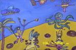 宇宙卫士儿童水彩画