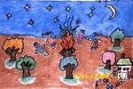 篝火晚会儿童画
