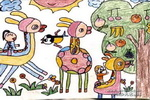 三只小鹿儿童画作品欣赏