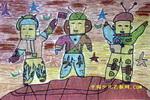 我和伙伴上卫星儿童画
