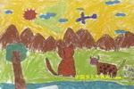 老虎和牛儿童画