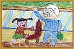 爷爷您请座儿童画