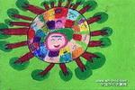 地球笑了儿童水彩画